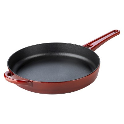 Calphalon Kitchen Essentials 10  Enamel Cast Iron Fry Pan- Red