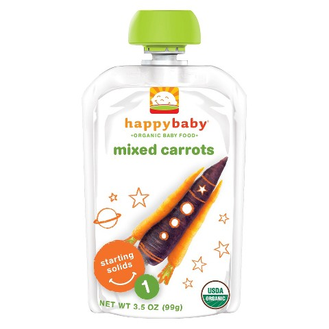 Happy Baby Organic Baby Food Stage 1 Mixed Carrots 3.5oz (16 Pack)