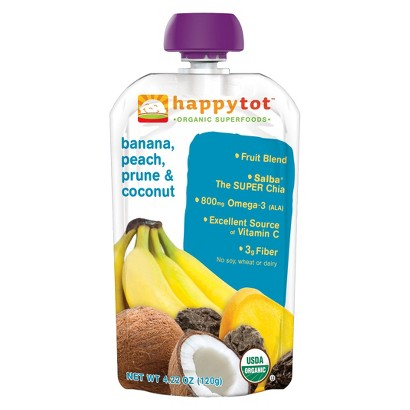 Happy Baby Organic Baby Food Pouch Stage 4 Banana/Peach/Coconut/Prune (16 Pack)