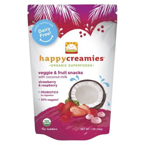 Happy Baby Organic Baby Food Strawberry/Carrot/Raspberry Creamies 1oz (8 Pack)