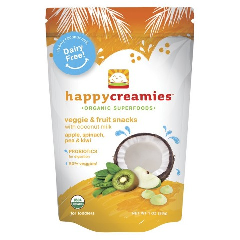 Happy Baby Happy Creamies Organic Baby Food Kiwi/Spinach/Peach/Green Apple (8 Pack)