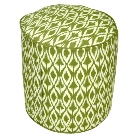 Threshold™ Outdoor Round Pouf Footstool - Green Ikat