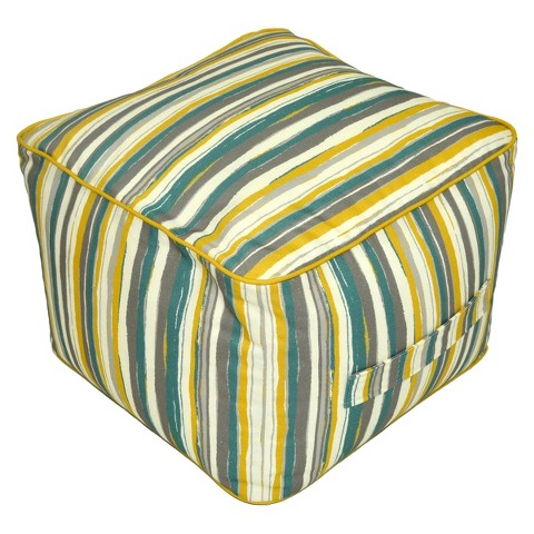 Threshold™ Outdoor Rectangular Pouf Footstool - Textured Stripe Cool