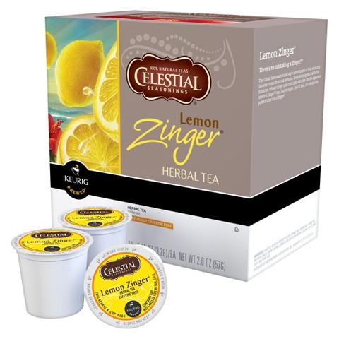 Celestial Seasonings Lemon Zinger Herbal Tea Keurig K-Cups 18 ct