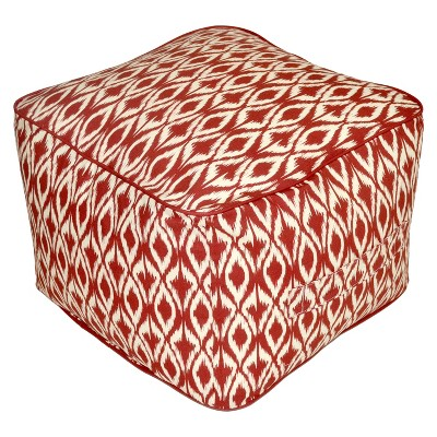 Outdoor Rectangular Pouf Footstool - Red Ikat - Threshold™
