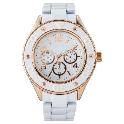 Women's Merona® Bracelet Watch with Decorative Dials - White/Rose Gold