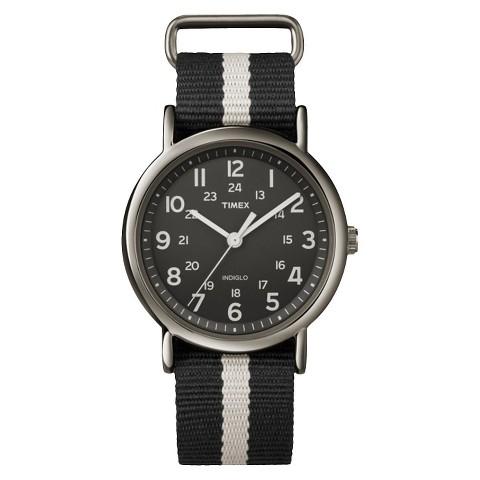 Timex Weekender™ Full-Size Slip Thru 20mm Strap Watch - Black - T2N889TG