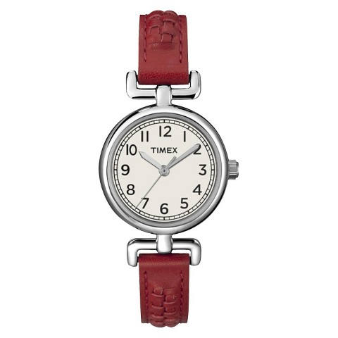 Women's Timex® Leather Watch - Burnt Red
