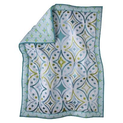 Mudhut™ Dawn Embroidered Crib Quilt - Teal