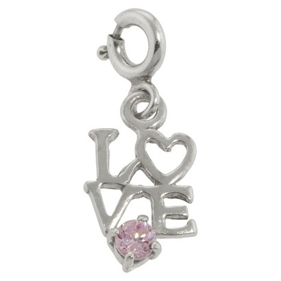 """""""Love"""" Charm - Silver/Pink"""