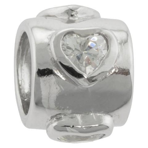 Hearts Bead Charm - Silver