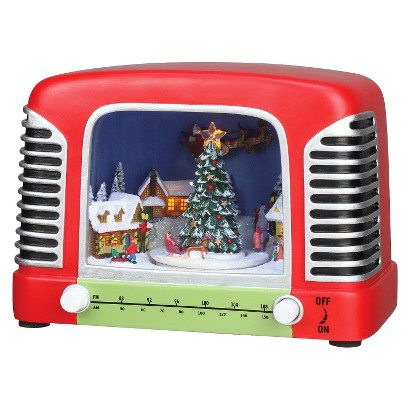 Retro Radio with Christmas Scene Figure