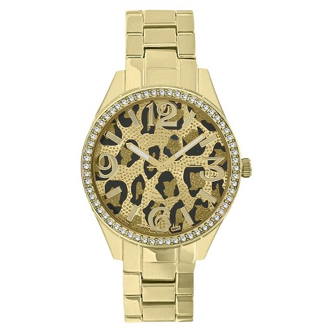 Merona® Animal Print Dial Watch,Gold Bracelet with Stones