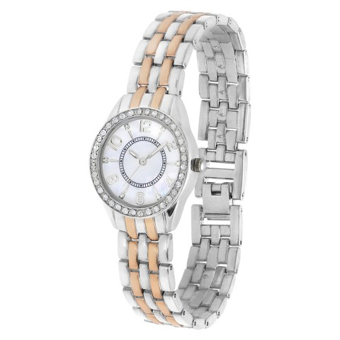 Merona® Two Tone Round Case Bracelet Watch with Stones