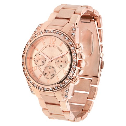 Merona® Bracelet Watch with Round Case and Stones - Rose Gold