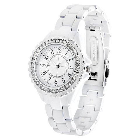 Women's Merona® Round Case Bracelet Watch with Stones - White