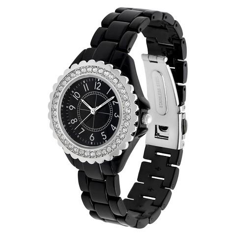 Merona® Round Case Bracelet Watch with Stones - Black