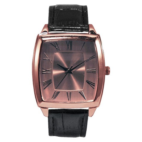 Merona® Croco Faux Leather Strap Square Case Watch - Black
