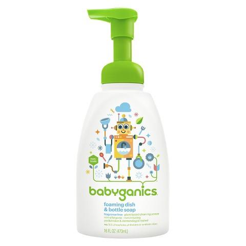Babyganics Foaming Dish and Bottle Soap, Fragrance Free - 16oz Pump Bottle
