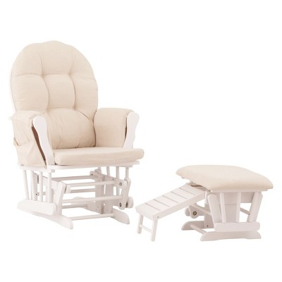Status Roma Glider and Nursing Ottoman - White/Beige