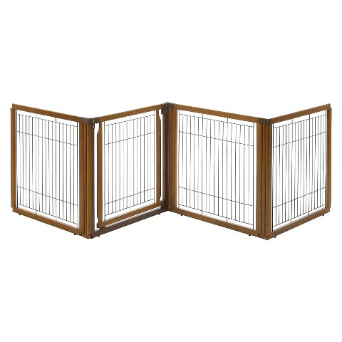 Richell Convertible Elite Pet Gate 4-Panel - Brown