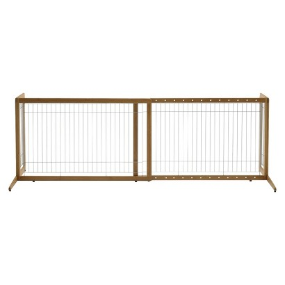 Richell Také Freestanding One-Touch Pet Gate - Bamboo