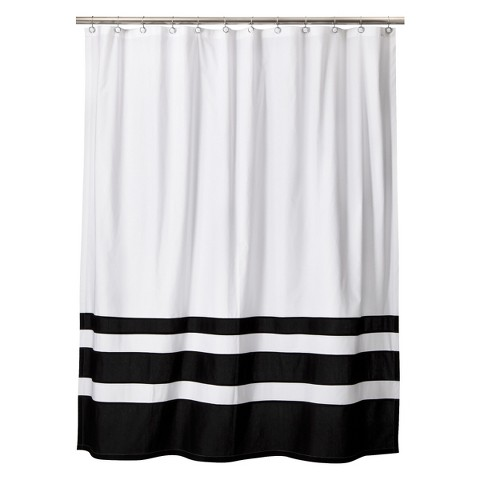 Threshold color block shower curtain black white target Black and white striped curtains
