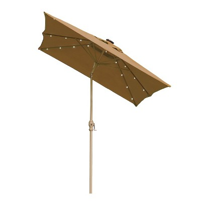 Solar Lighted Patio Umbrella - Taupe 9'x7'