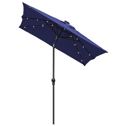 Solar Lighted Patio Umbrella - Navy 9'x7'