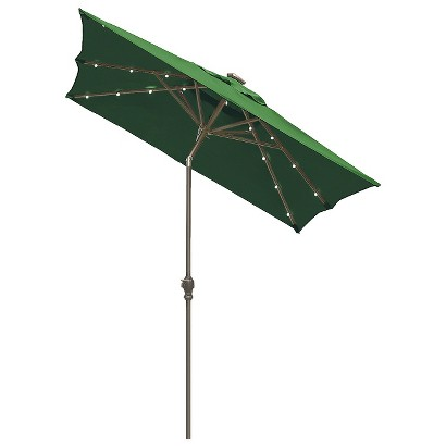 Solar Lighted Patio Umbrella - Hunter Green 9'x7'