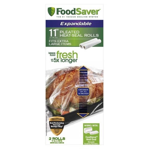 "FoodSaver® 11"" Expandable Heat Seal Rolls, 2pk"