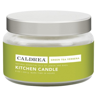 Caldrea 8 Ounce Green Tea Verbena Kitchen Candle