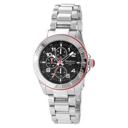 Armitron® Men's Black Dial Silver-Tone Multi-Function Watch