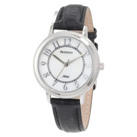 Armitron® Women's Round Silver-Tone Easy-To-Read Dial Leather Strap Watch - Black