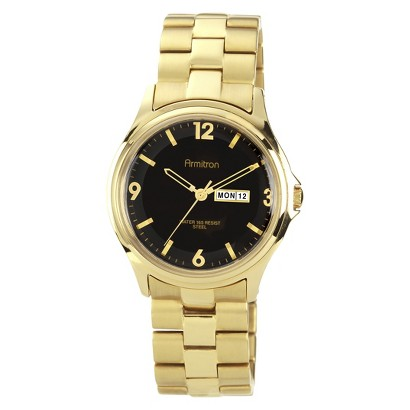Armitron® Men's Gold Ip Plated Dress Watch With Black Dial