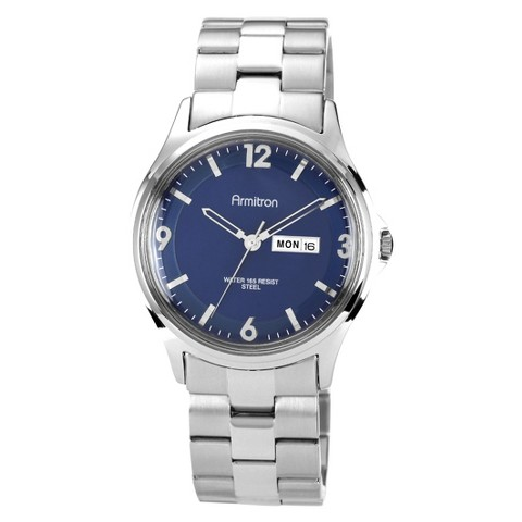 Armitron® Men's Blue Dial Stainless Steel Watch