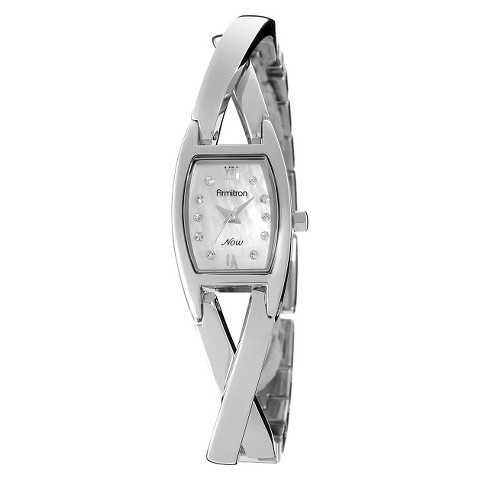 Armitron® Women's Crystal Accented Silver-Tone Bangle Watch with Crystals from Swarovski