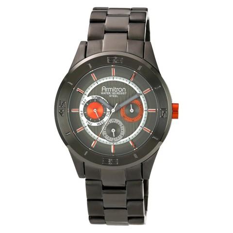 Armitron® Men's Colorful Dress Orange Accented  Multi-Function Watch - Gunmetal