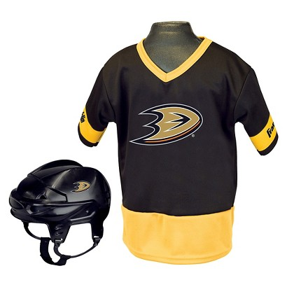 Franklin Sports Anaheim Ducks NHL Hockey Uniform/Helmet for Kids - OSFM ages 5-9