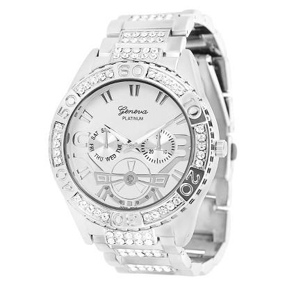 Men's Geneva® Platinum Rhinestone-Accented Link Watch