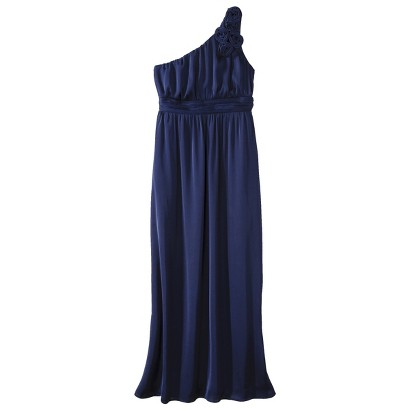 TEVOLIO™  Women's Satin One-Shoulder Rosette Maxi Dress - Fashion Colors