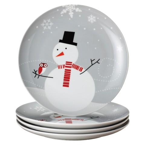 Rachael Ray Little Hoot And The Snowman Dessert Plates Set of 4 - Gray