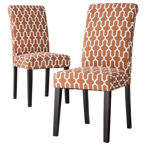 Avington Dining Chair Set of 2 - Orange Trellis