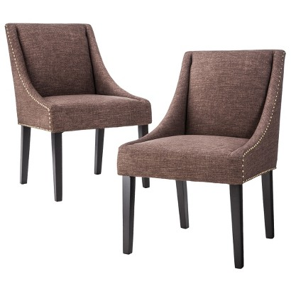Griffin Cutback Dining Chair Set of 2 - Nailhead Chocolate