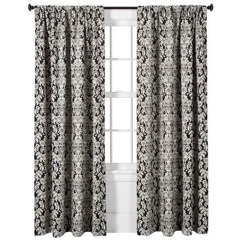 Threshold Woven Damask Curtain Panel Black White Target