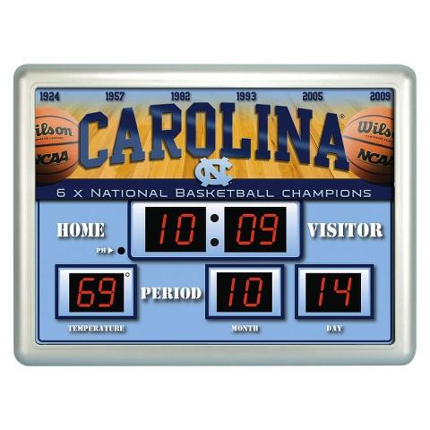 North Carolina Tarheels Team Sports America Scoreboard Wall Clock