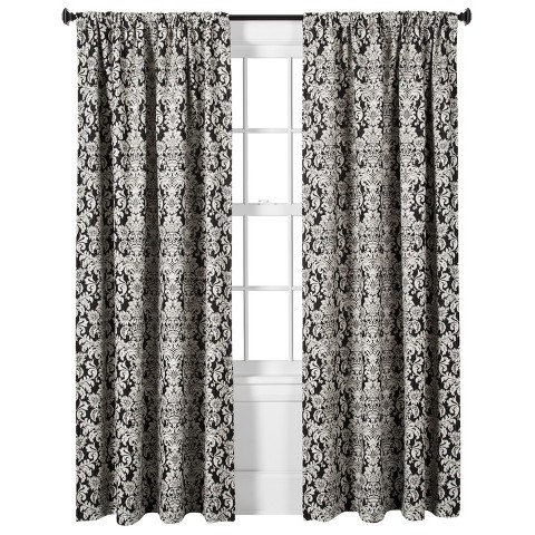 Threshold™ Woven Damask Curtain Panel - Black/White