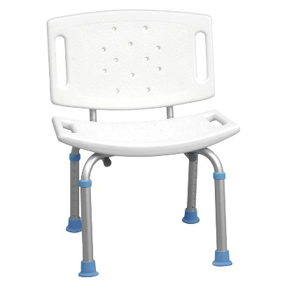 AquaSense Adjustable Bath and Shower Chair with Non-Slip Seat and Backrest - White