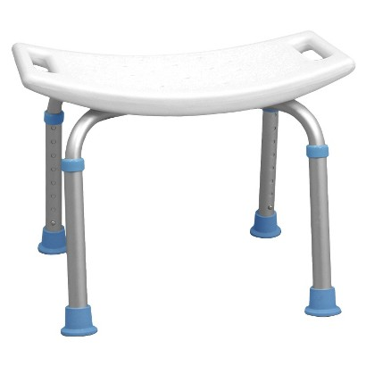 AquaSense Adjustable Bath and Shower Chair with Non Slip Seat - White