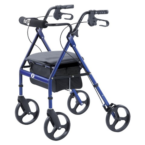Hugo Portable Rolling Walker with Seat, Backrest, and 8 Inch Wheels - Blue